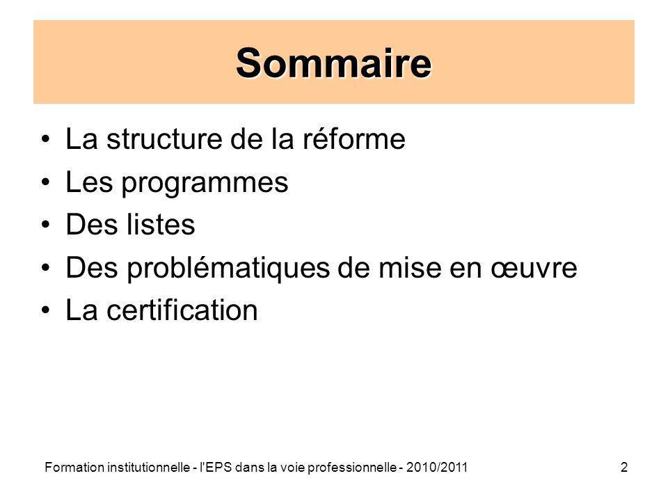Sommaire La structure de la réforme Les programmes Des listes