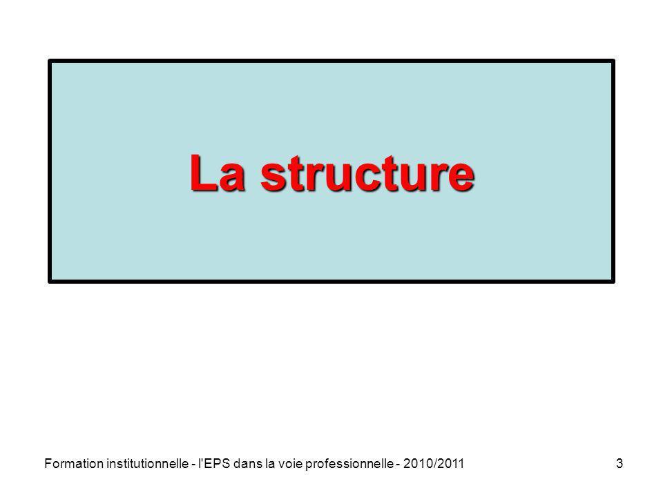 La structure La rénovation de la voie professionnelle Rentrée 2009. 4 objectifs prioritaires : Réduire les sorties sans qualification.