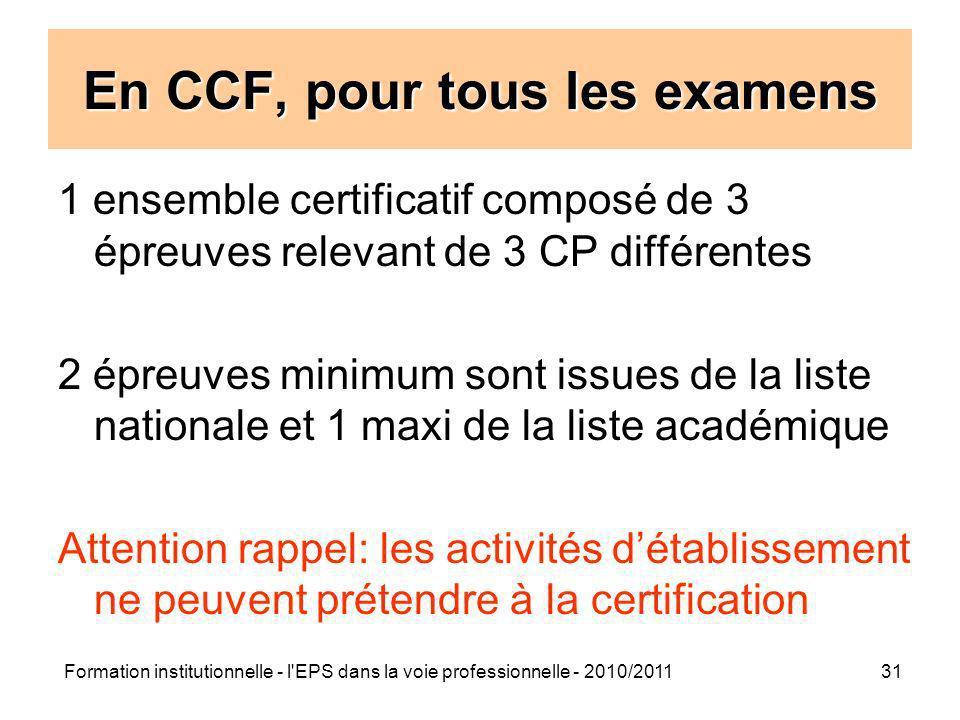En CCF, pour tous les examens
