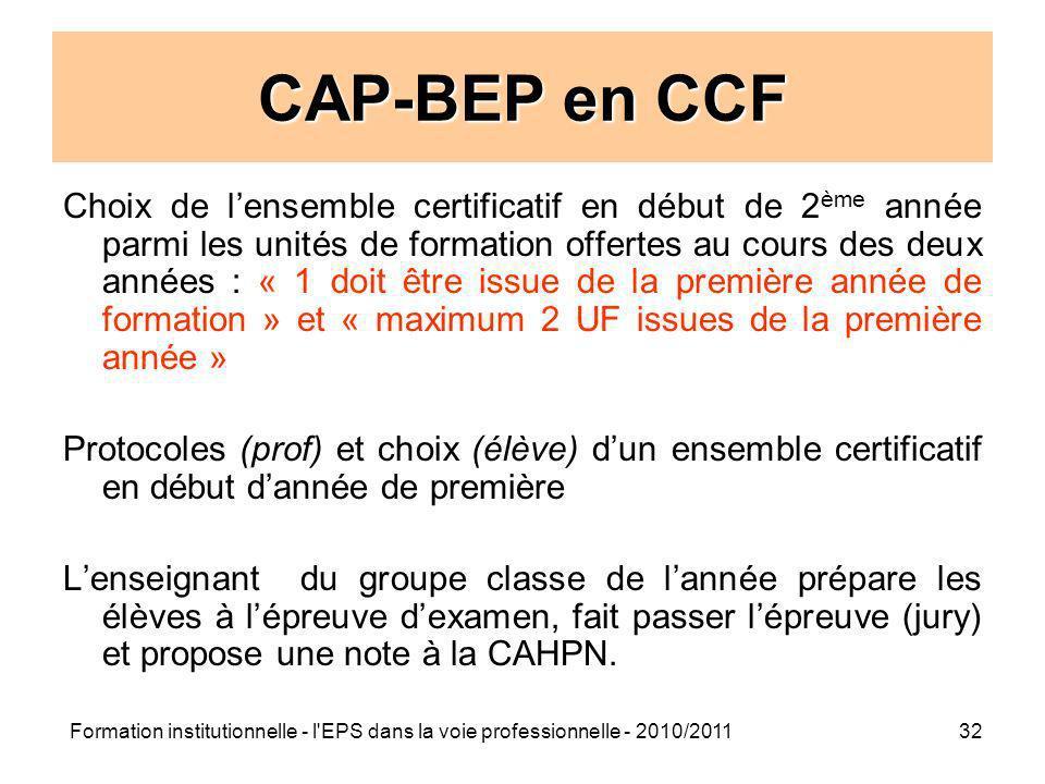 CAP-BEP en CCF