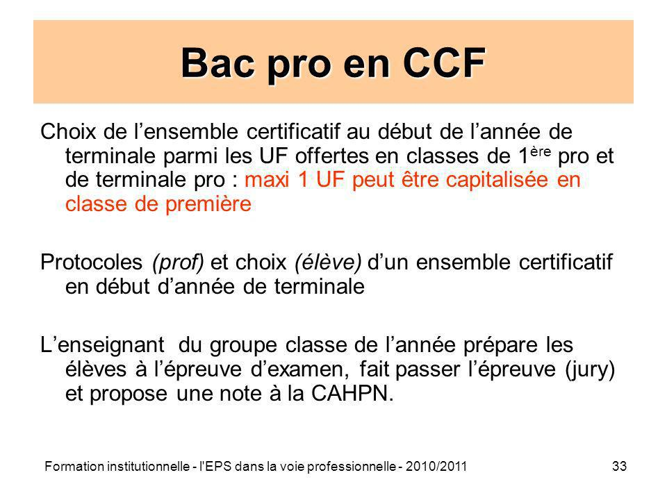 Bac pro en CCF