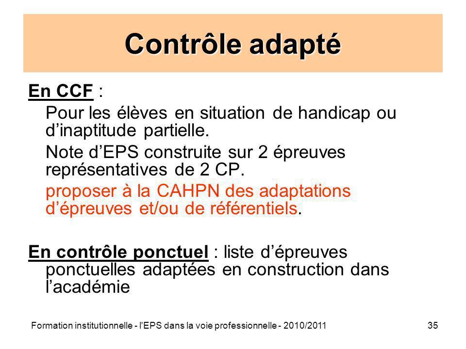 Contrôle adapté En CCF :