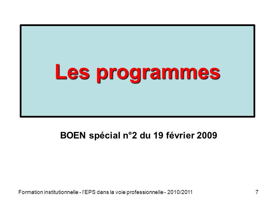 Les programmes BOEN spécial n°2 du 19 février 2009