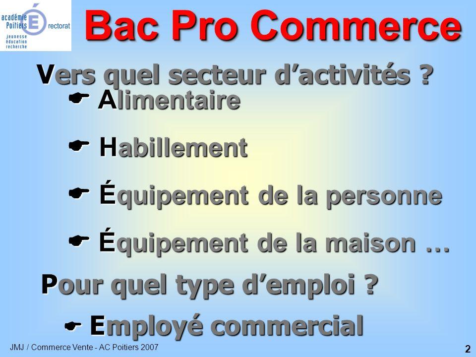 Bac Pro Commerce Vers quel secteur d'activités  Alimentaire