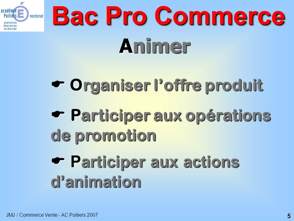 Bac Pro Commerce Animer  Organiser l'offre produit