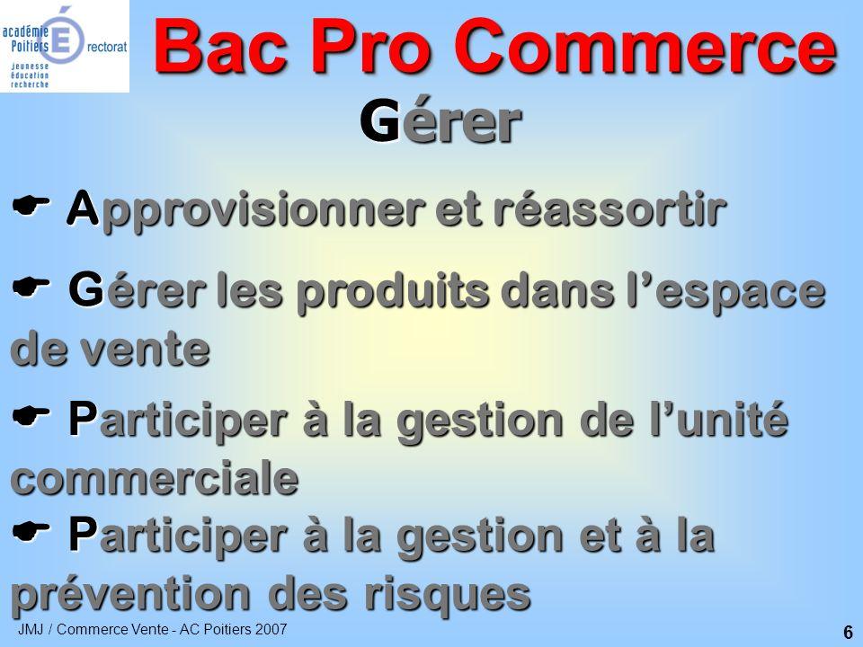 Bac Pro Commerce Gérer  Approvisionner et réassortir
