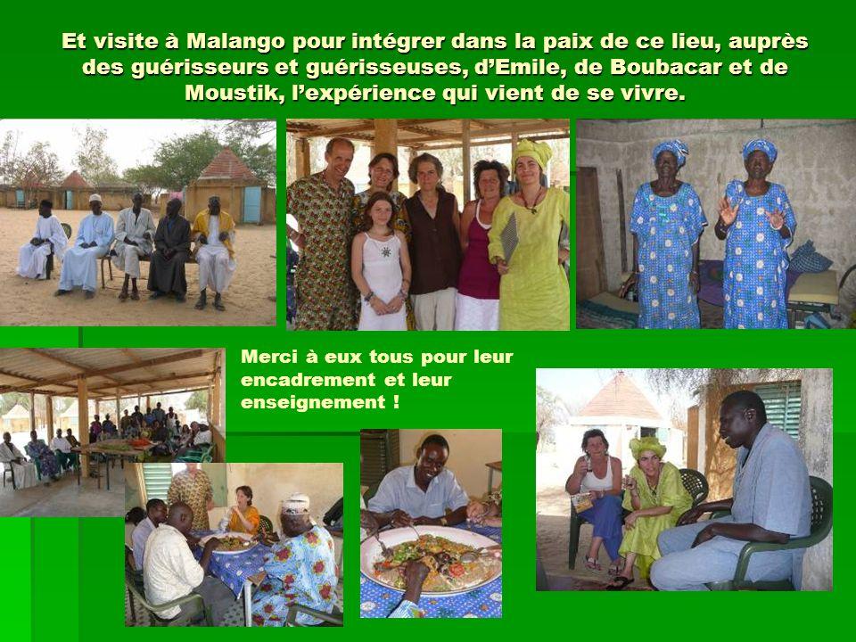 Et visite à Malango pour intégrer dans la paix de ce lieu, auprès des guérisseurs et guérisseuses, d'Emile, de Boubacar et de Moustik, l'expérience qui vient de se vivre.
