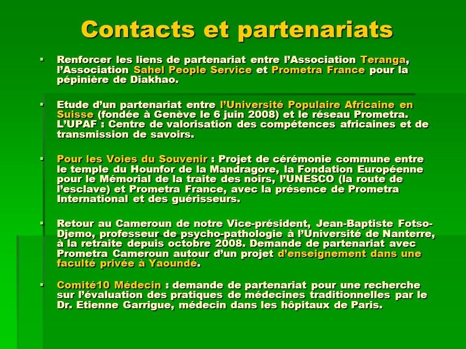Contacts et partenariats
