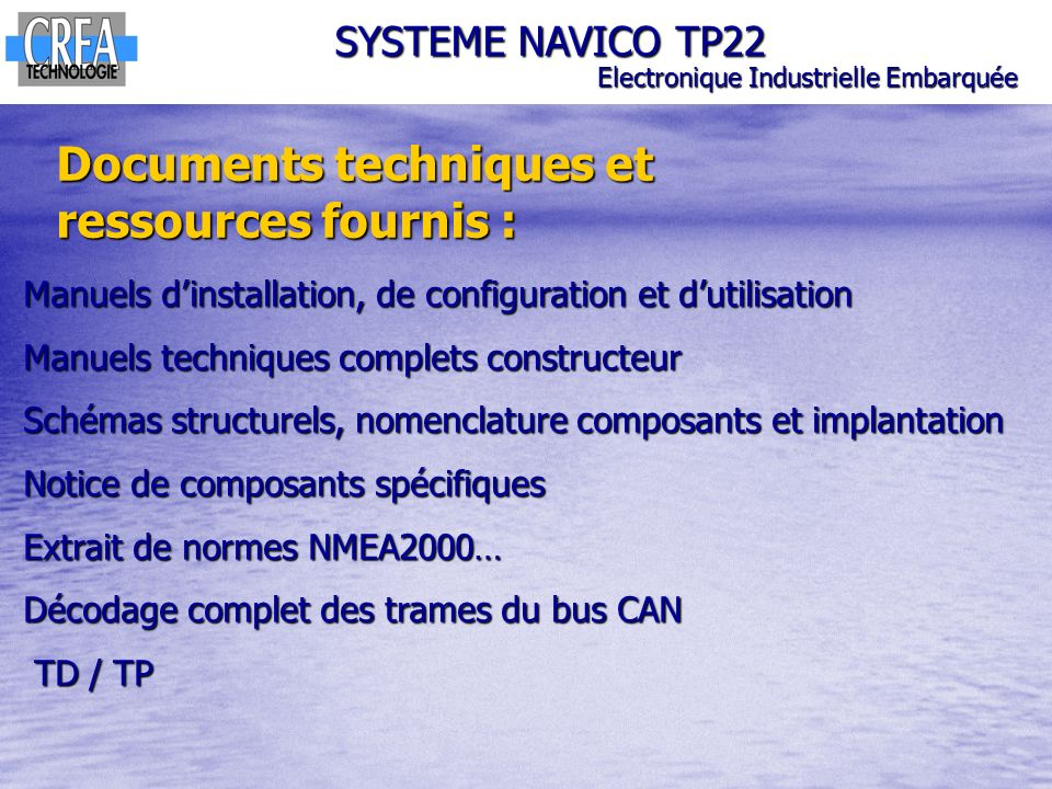 Documents techniques et ressources fournis :