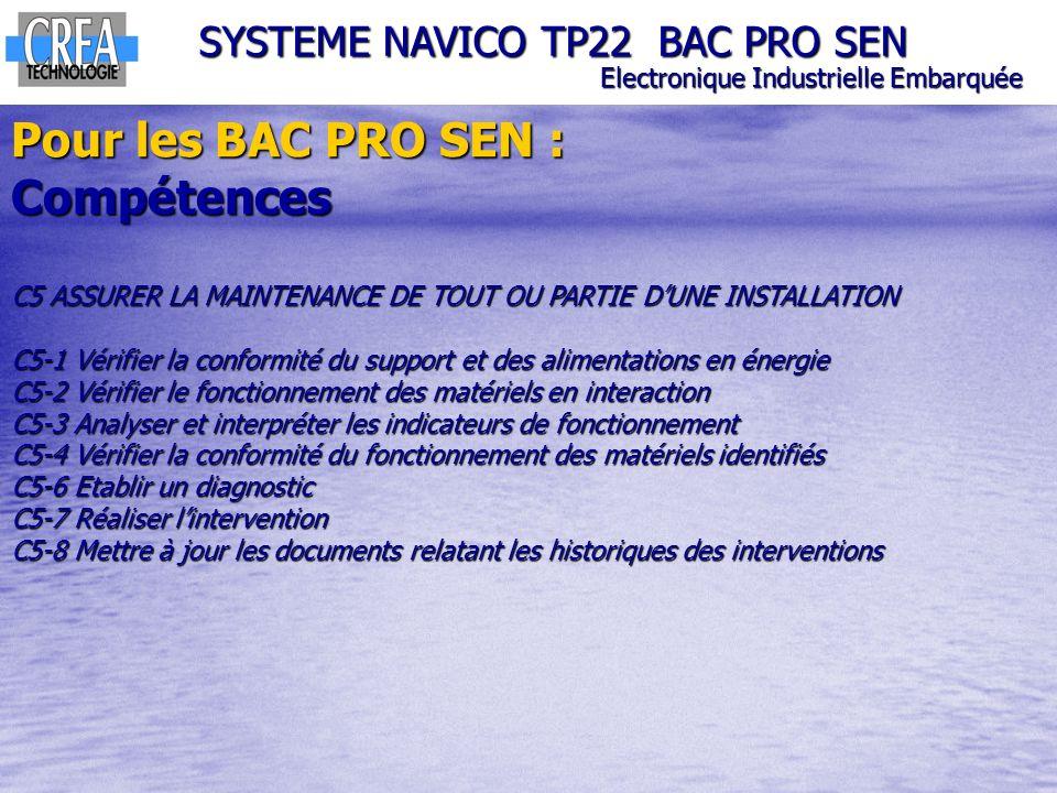 Pour les BAC PRO SEN : Compétences SYSTEME NAVICO TP22 BAC PRO SEN