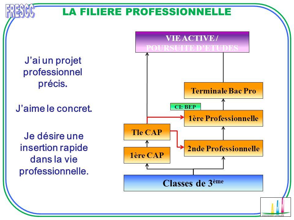 LA FILIERE PROFESSIONNELLE