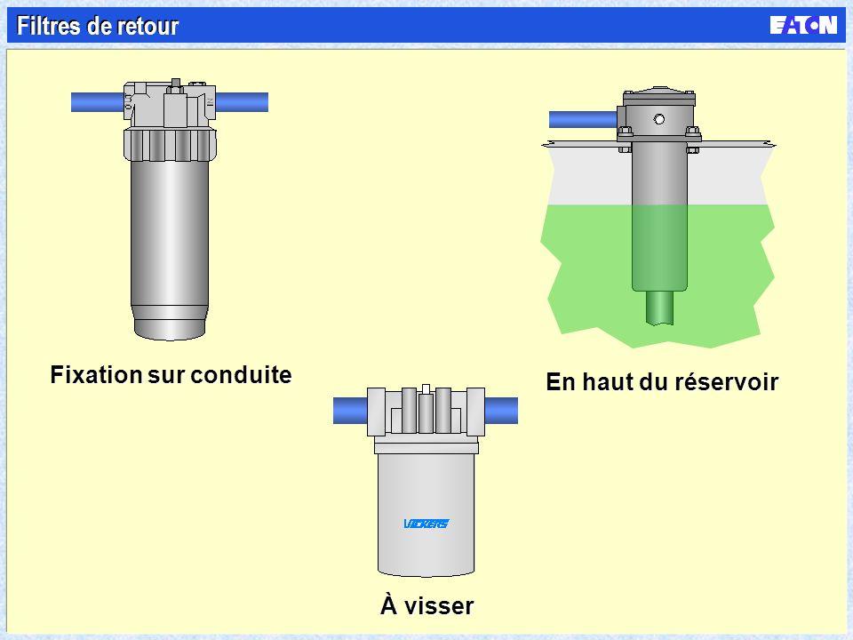 Filtres de retour Fixation sur conduite En haut du réservoir À visser