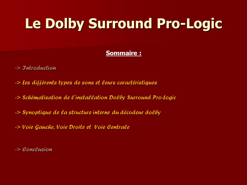 Le Dolby Surround Pro-Logic