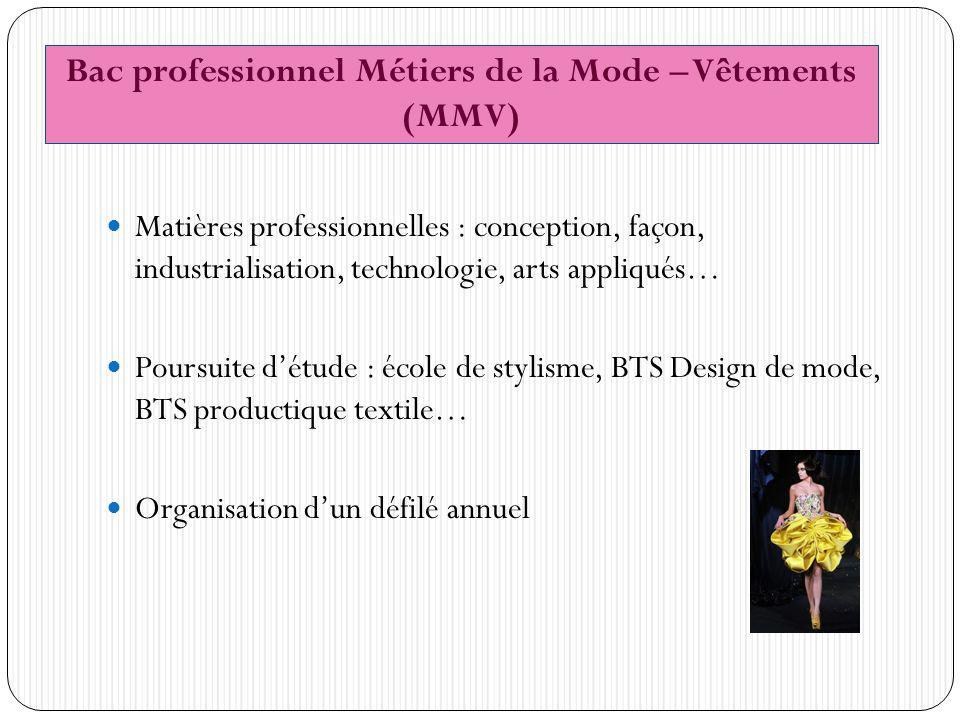 Bac professionnel Métiers de la Mode – Vêtements (MMV)