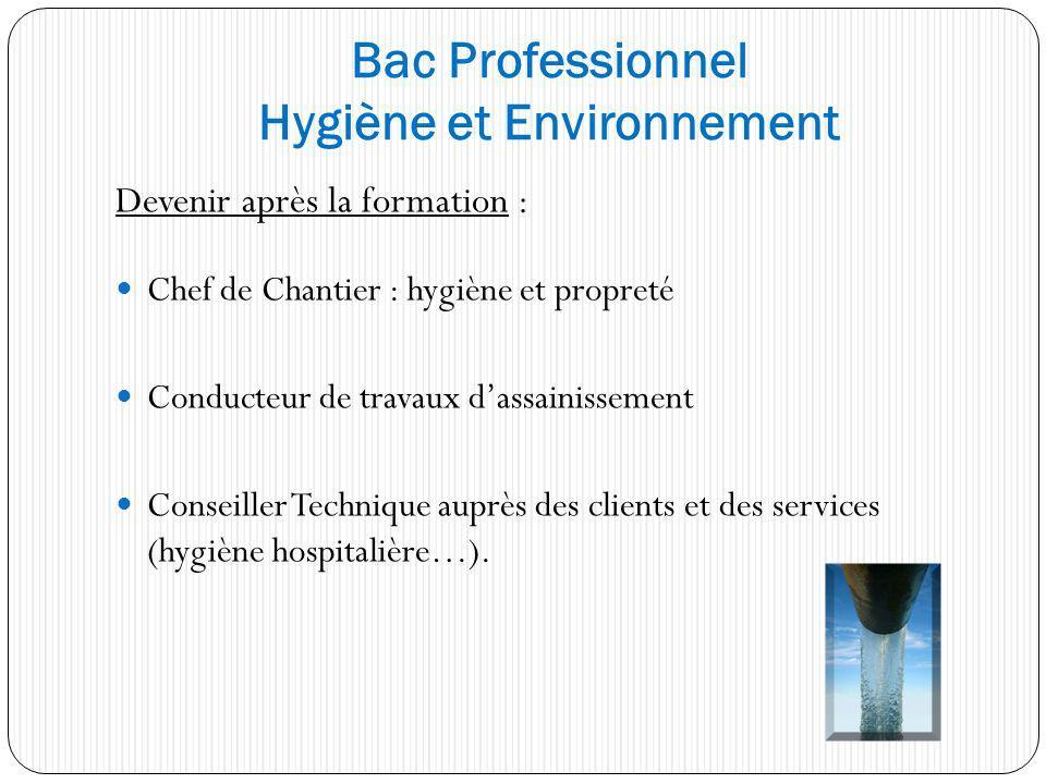 Bac Professionnel Hygiène et Environnement
