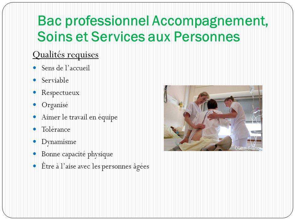 Bac professionnel Accompagnement, Soins et Services aux Personnes