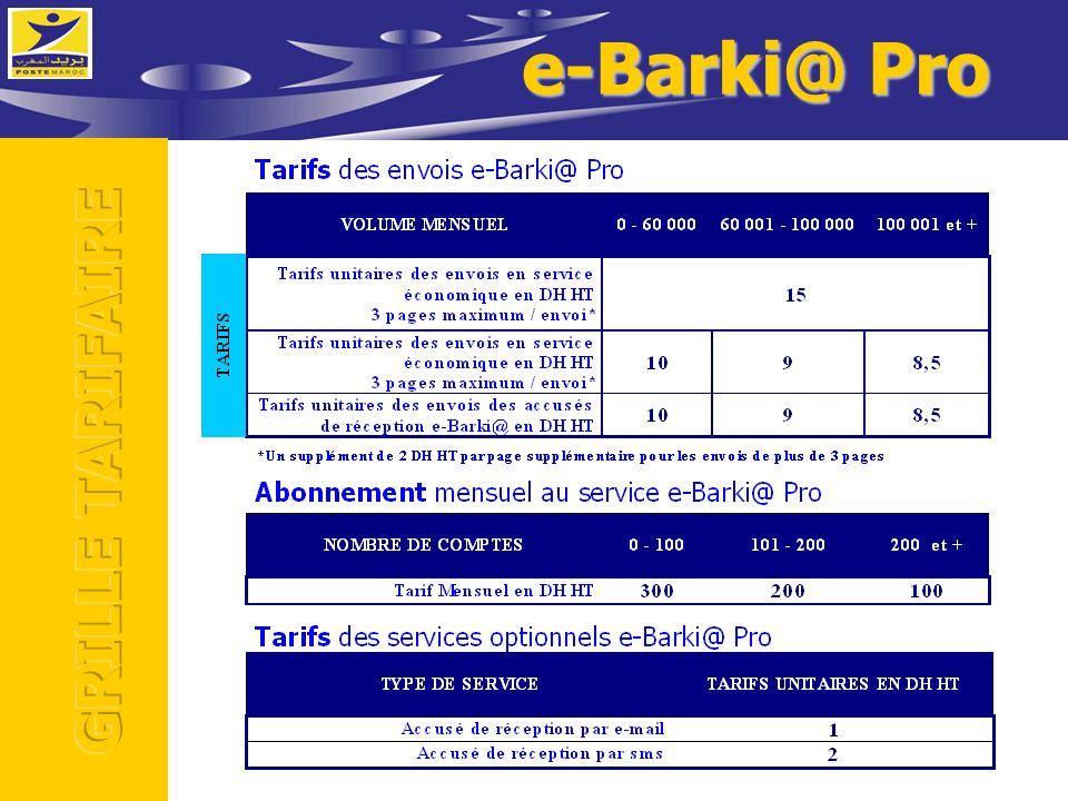 e-Barki@ Pro GRILLE TARIFAIRE