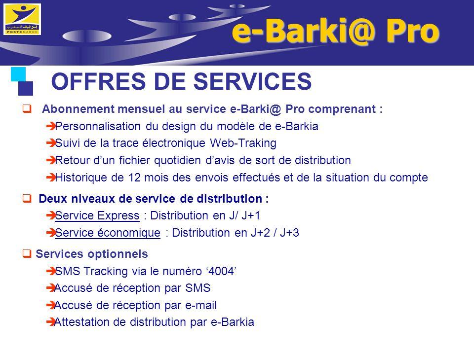 e-Barki@ Pro OFFRES DE SERVICES