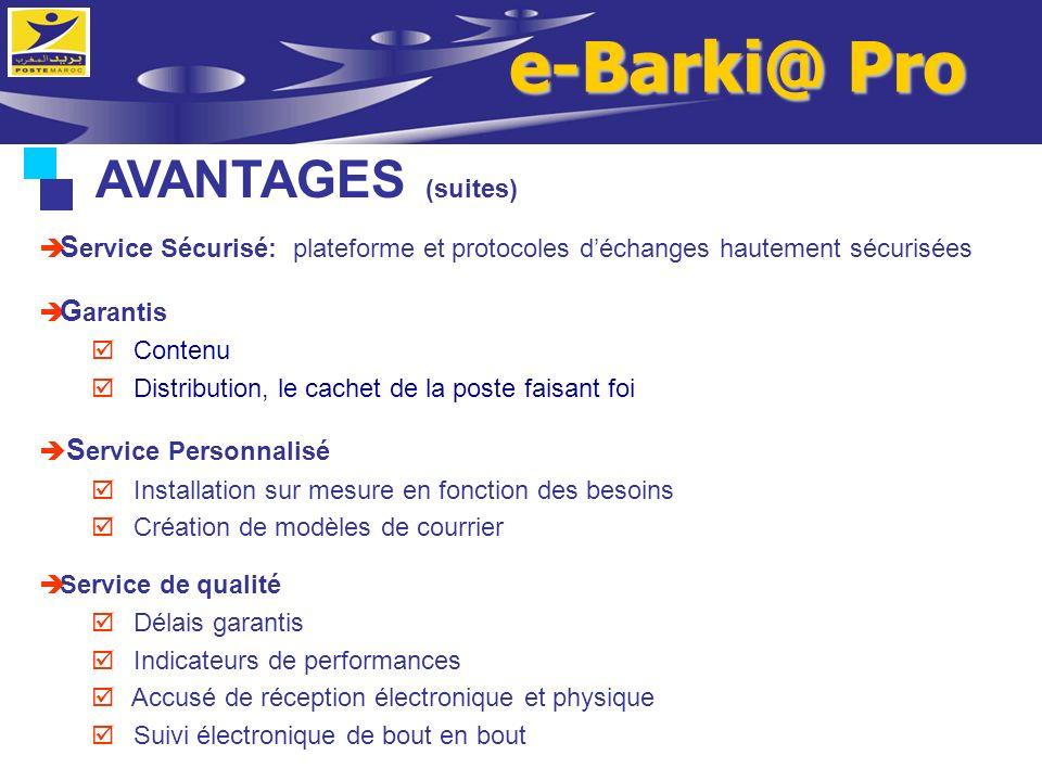 e-Barki@ Pro AVANTAGES (suites)