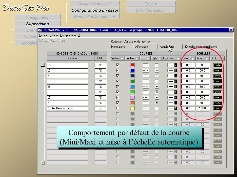 Configuration des voies d'acquisition