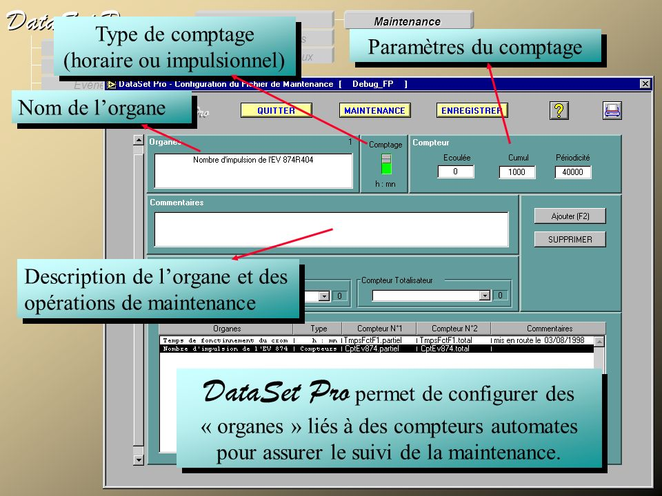 Maintenance Modules externes. Procès Verbaux. Evénements. Supervision. DataSet Pro. Configuration.