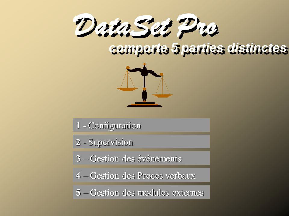 DataSet Pro comporte 5 parties distinctes 1 - Configuration