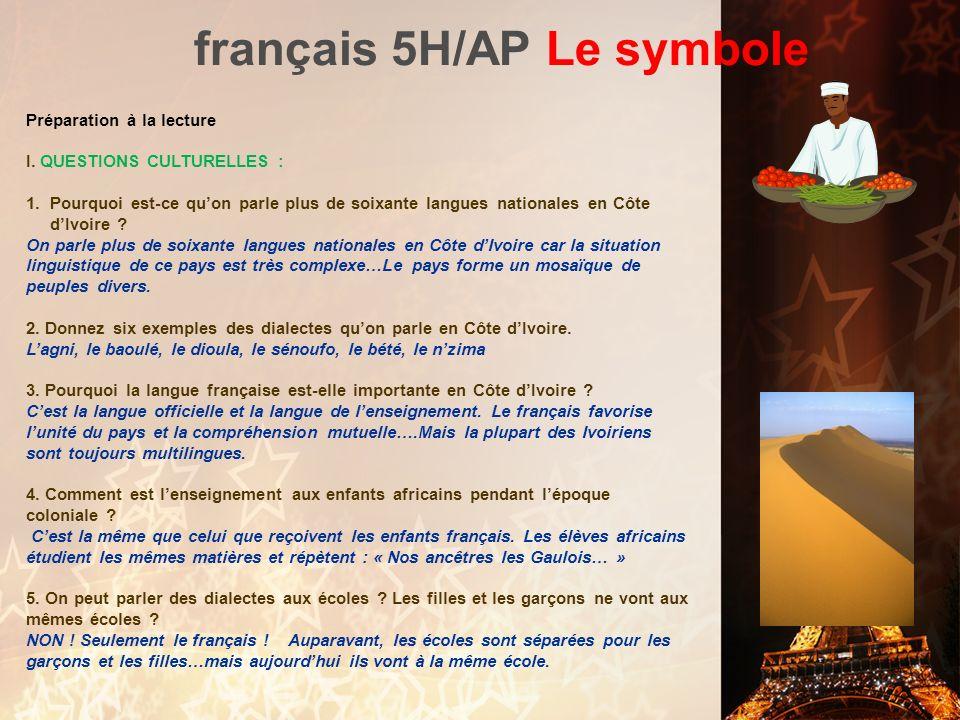 français 5H/AP Le symbole