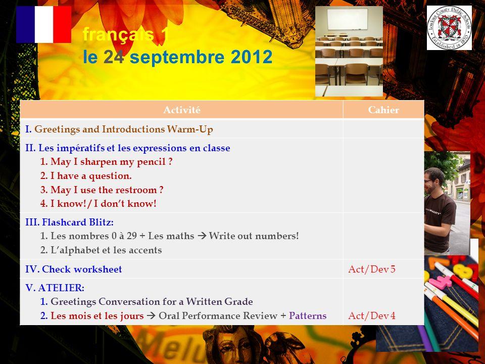 français 1 le 24 septembre 2012 Activité Cahier