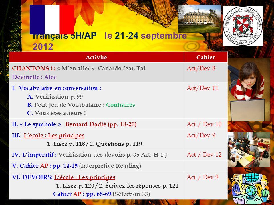 français 5H/AP le 21-24 septembre 2012