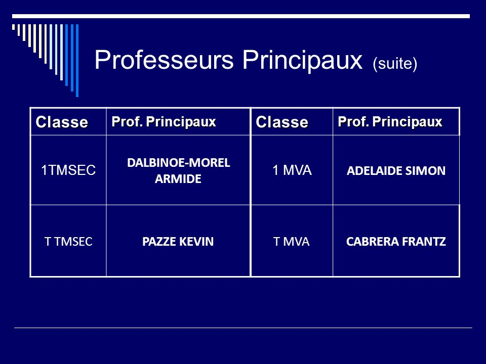 Professeurs Principaux (suite)