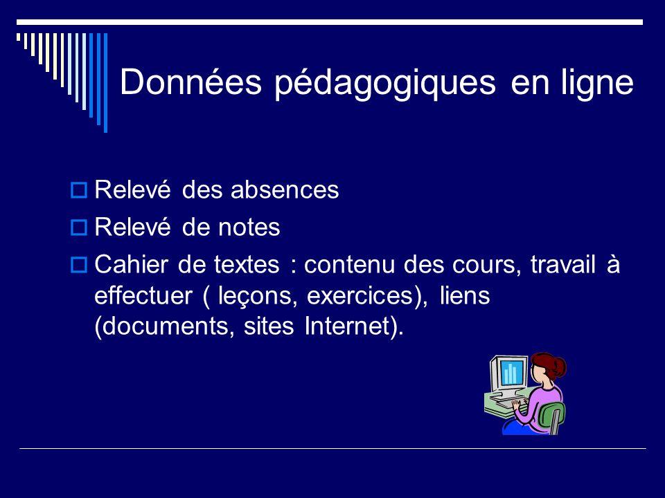 Données pédagogiques en ligne