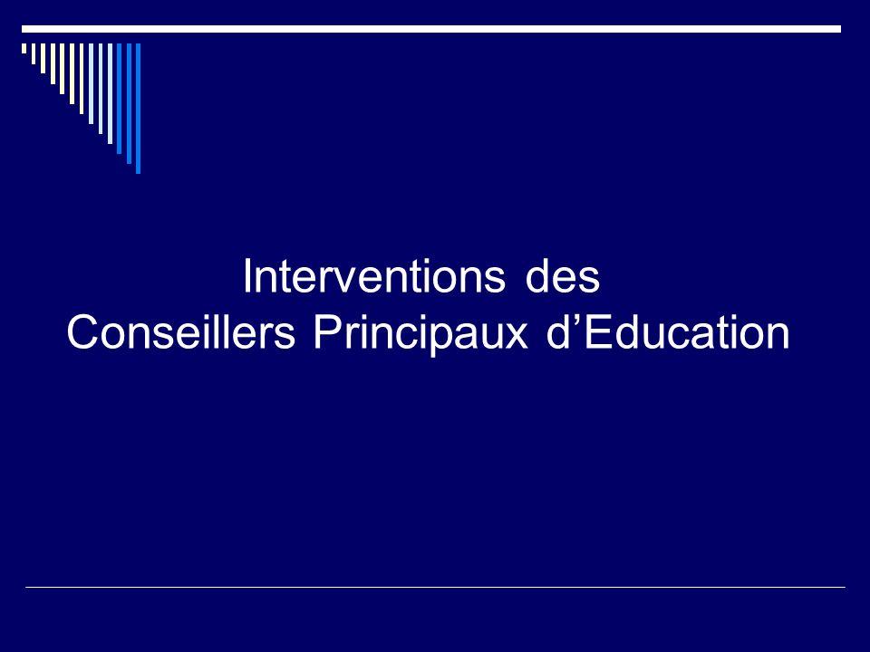 Interventions des Conseillers Principaux d'Education