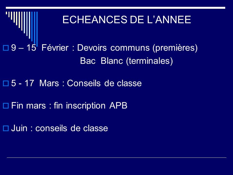 ECHEANCES DE L'ANNEE 9 – 15 Février : Devoirs communs (premières)