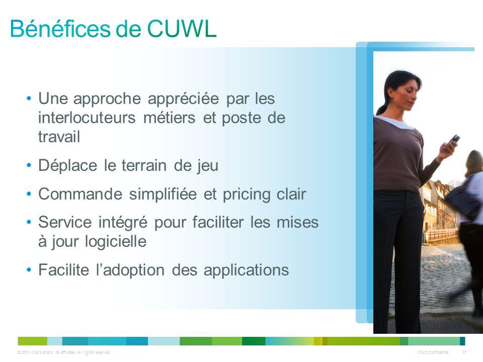 Bénéfices de CUWL Une approche appréciée par les interlocuteurs métiers et poste de travail. Déplace le terrain de jeu.
