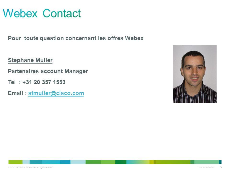 Webex Contact Pour toute question concernant les offres Webex