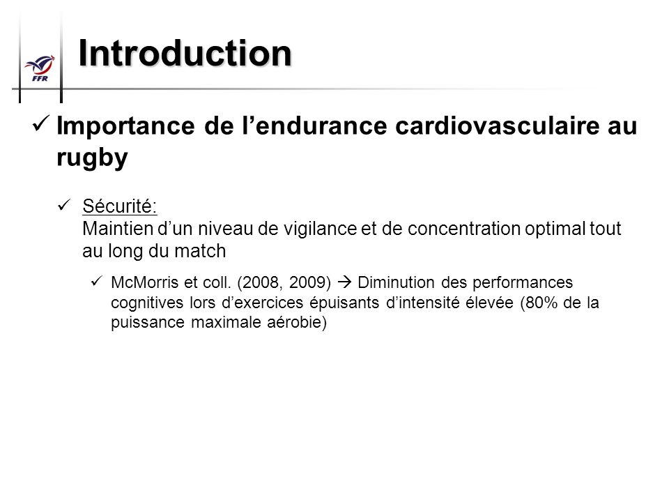 Introduction Importance de l'endurance cardiovasculaire au rugby