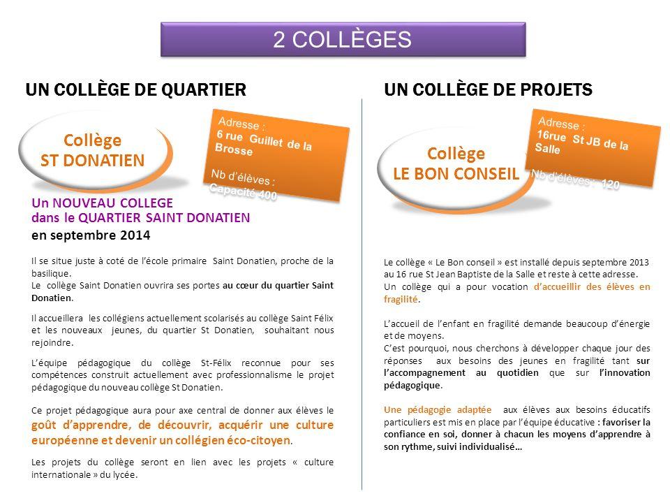 2 COLLÈGES UN COLLÈGE DE QUARTIER UN COLLÈGE DE PROJETS Collège