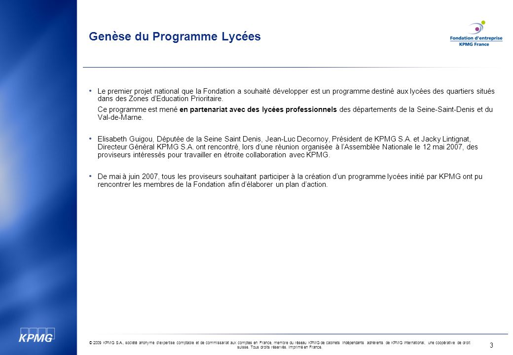 Genèse du Programme Lycées