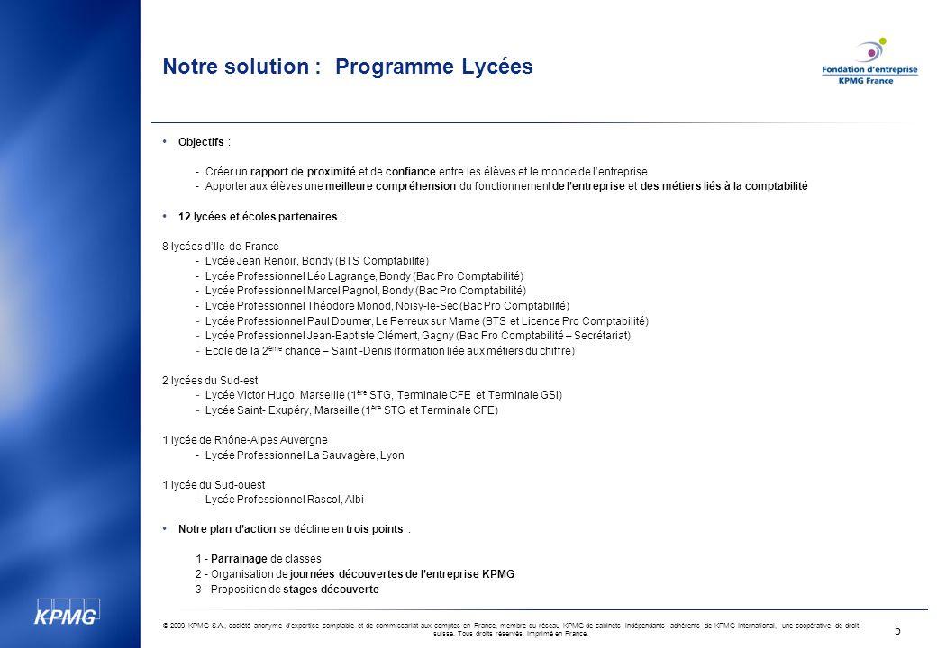 Notre solution : Programme Lycées