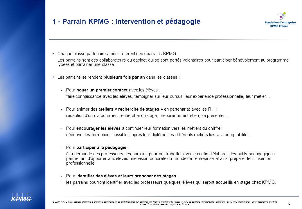1 - Parrain KPMG : intervention et pédagogie