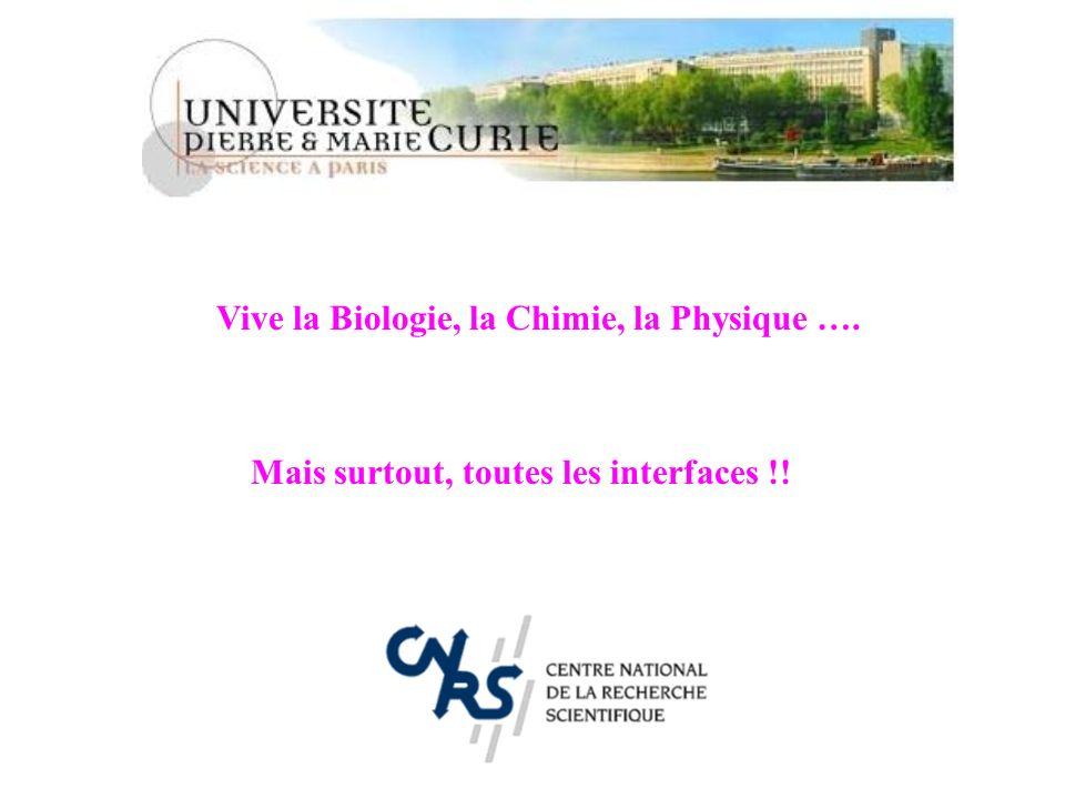 Vive la Biologie, la Chimie, la Physique ….