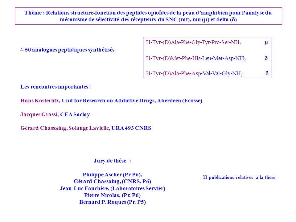 Gérard Chassaing, (CNRS, P6) Jean-Luc Fauchère, (Laboratoires Servier)
