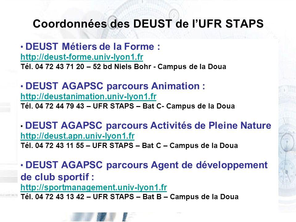 Coordonnées des DEUST de l'UFR STAPS