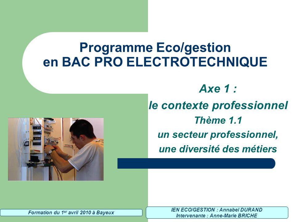 Programme Eco/gestion en BAC PRO ELECTROTECHNIQUE