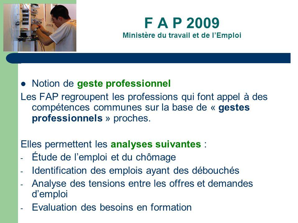 F A P 2009 Ministère du travail et de l'Emploi