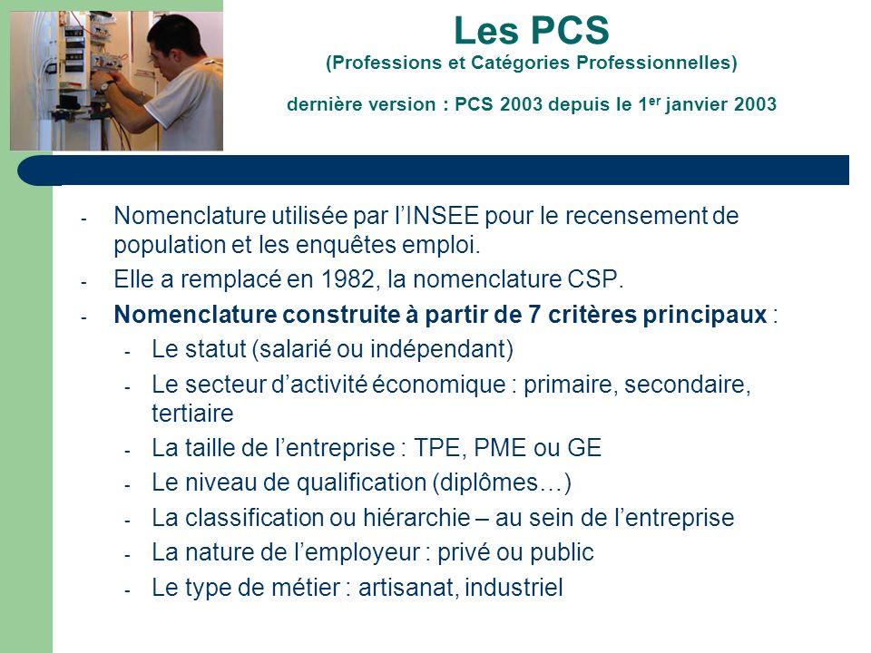 Les PCS (Professions et Catégories Professionnelles) dernière version : PCS 2003 depuis le 1er janvier 2003