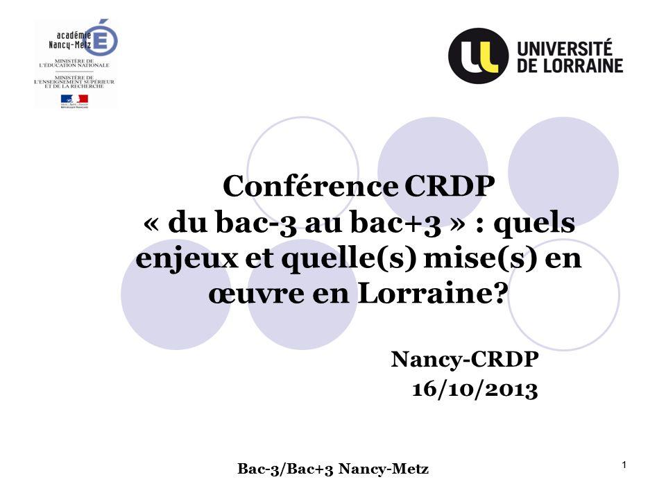 Conférence CRDP « du bac-3 au bac+3 » : quels enjeux et quelle(s) mise(s) en œuvre en Lorraine