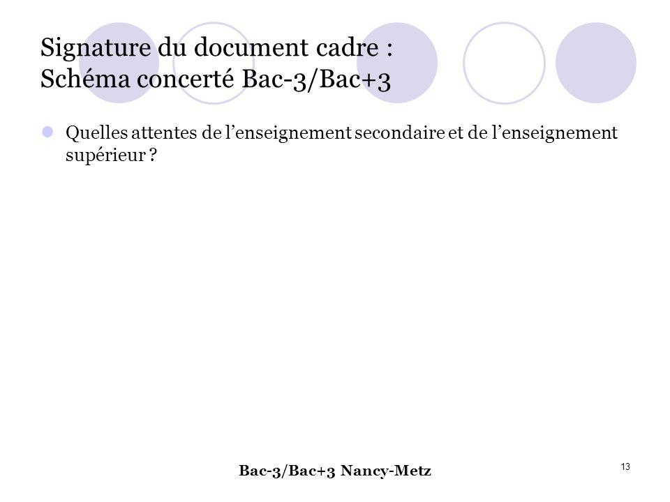 Signature du document cadre : Schéma concerté Bac-3/Bac+3