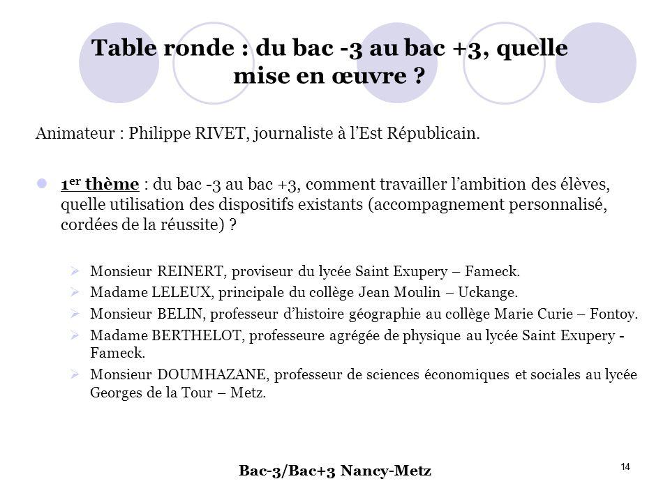 Table ronde : du bac -3 au bac +3, quelle mise en œuvre