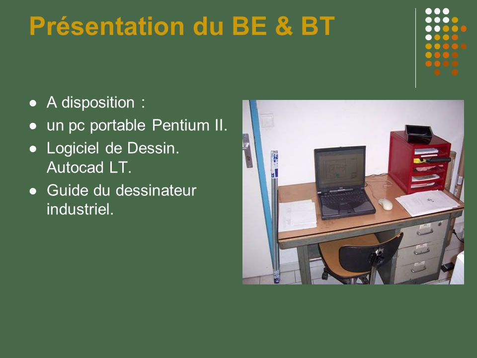 Présentation du BE & BT A disposition : un pc portable Pentium II.